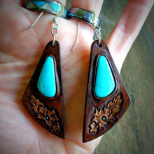 Load image into Gallery viewer, Hand Tooled Leather and  Kingman Turquoise Inlay Earrings