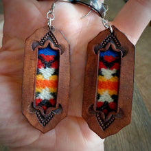Load image into Gallery viewer, Leather and Pendleton Wool Inlay Earrings
