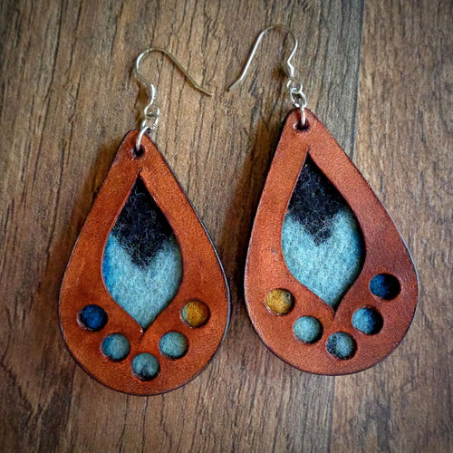 Leather and Rancho Arroyo Pendleton Wool Inlay Earring