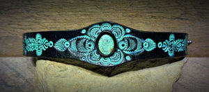 Hand Tooled Black Leather Cuff with Vintage Kingman Turquoise Inlay