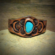 Load image into Gallery viewer, Hand Tooled Leather Cuff with Vintage American Turquoise Inlay
