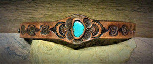Hand Tooled Leather Cuff with Vintage American Turquoise Inlay