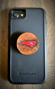 Hand Tooled Leather Red North Carolina Phone Grip