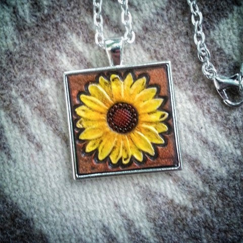 Sunflower Leather Sterling Silver Plate Pendant