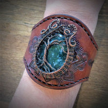 Load image into Gallery viewer, Wire Wrapped Tree of Life Moss Agate Tooled Leather Cuff