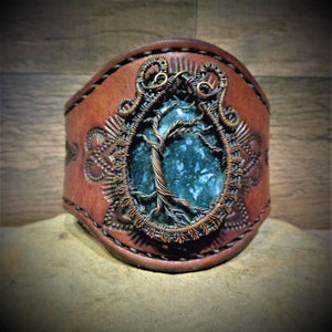 Wire Wrapped Tree of Life Moss Agate Tooled Leather Cuff