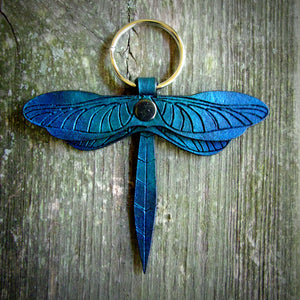 Teal  Leather Dragonfly Key Fob