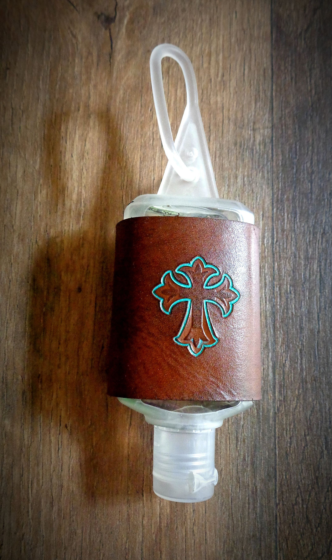 Turquoise Cross Leather Hand Sanitizer Holder
