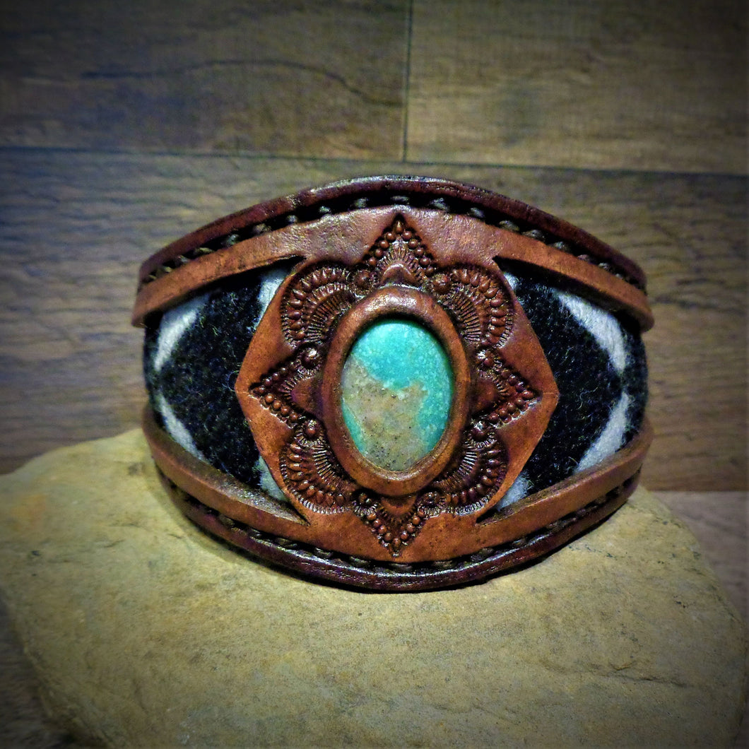 Vintage Kingman Turquoise and Tooled Leather Cuff with Pendleton Wool Inlay