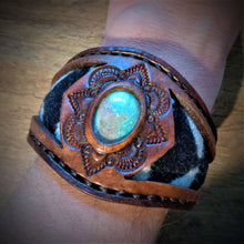 Load image into Gallery viewer, Vintage Kingman Turquoise and Tooled Leather Cuff with Pendleton Wool Inlay
