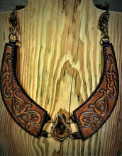 Load image into Gallery viewer, Copper Wire Woven Amber Tooled Norse Dragon Leather Torc Necklace
