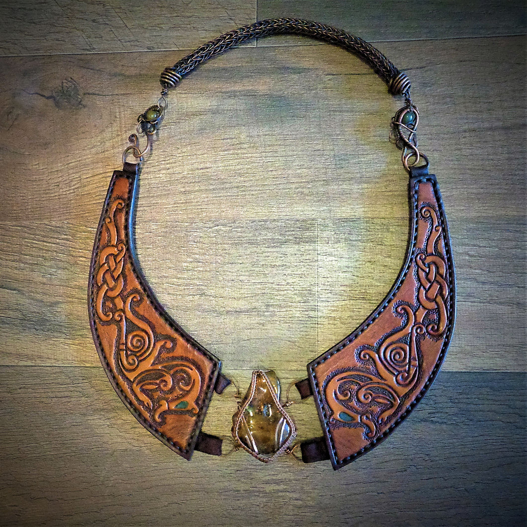 Copper Wire Woven  Amber Tooled Norse Dragon Leather Torc Necklace