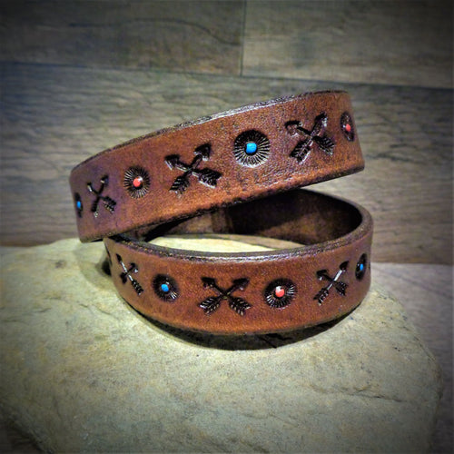 Hand Tooled Arrow Leather Wrap Cuff