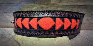 Black Hand Tooled Leather and Red Walking Rock Pendleton Wool Inlay Cuff