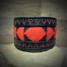 Load image into Gallery viewer, Black Hand Tooled Leather and Red Walking Rock Pendleton Wool Inlay Cuff