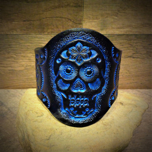 Hand Tooled Metallic Blue Sugar Skull Leather Cuff