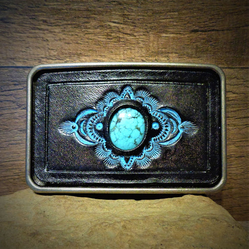 Kingman Turquoise and Black Tooled Leather Belt Buckle