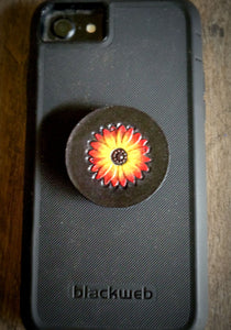Hand Tooled Leather Sunflower Phone Grip