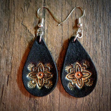 Load image into Gallery viewer, Hand Tooled Leather Gold Floral Petite Teardrop Earrings