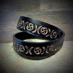 Hand Tooled Black and Gold Leather Wrap Cuff