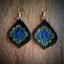 Load image into Gallery viewer, Hand Tooled Leather Blue/Green Mandala Tear Drop Earrings
