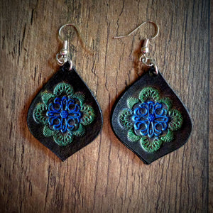 Hand Tooled Leather Blue/Green Mandala Tear Drop Earrings