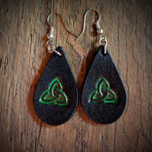 Load image into Gallery viewer, Hand Tooled Leather Green Celtic Petite Tear Drop Earrings