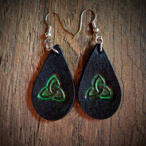 Hand Tooled Leather Green Celtic Petite Tear Drop Earrings