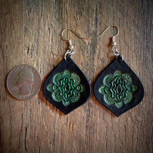 Hand Tooled Leather Green Mandala Tear Drop Earrings