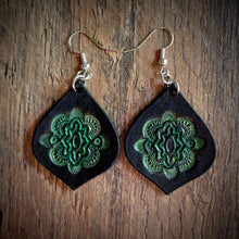Load image into Gallery viewer, Hand Tooled Leather Green Mandala Tear Drop Earrings