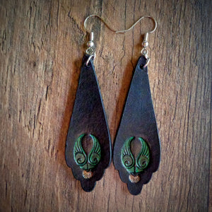 Hand Tooled Black Green and Gold Scallop Drop Earrings