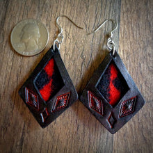 Load image into Gallery viewer, Black Leather and Red Walking Rock Pendleton Wool Inlay Kite Earrings