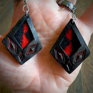 Black Leather and Red Walking Rock Pendleton Wool Inlay Kite Earrings