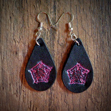 Load image into Gallery viewer, Hand Tooled Leather Pink Floral Petite Tear Drop Earrings