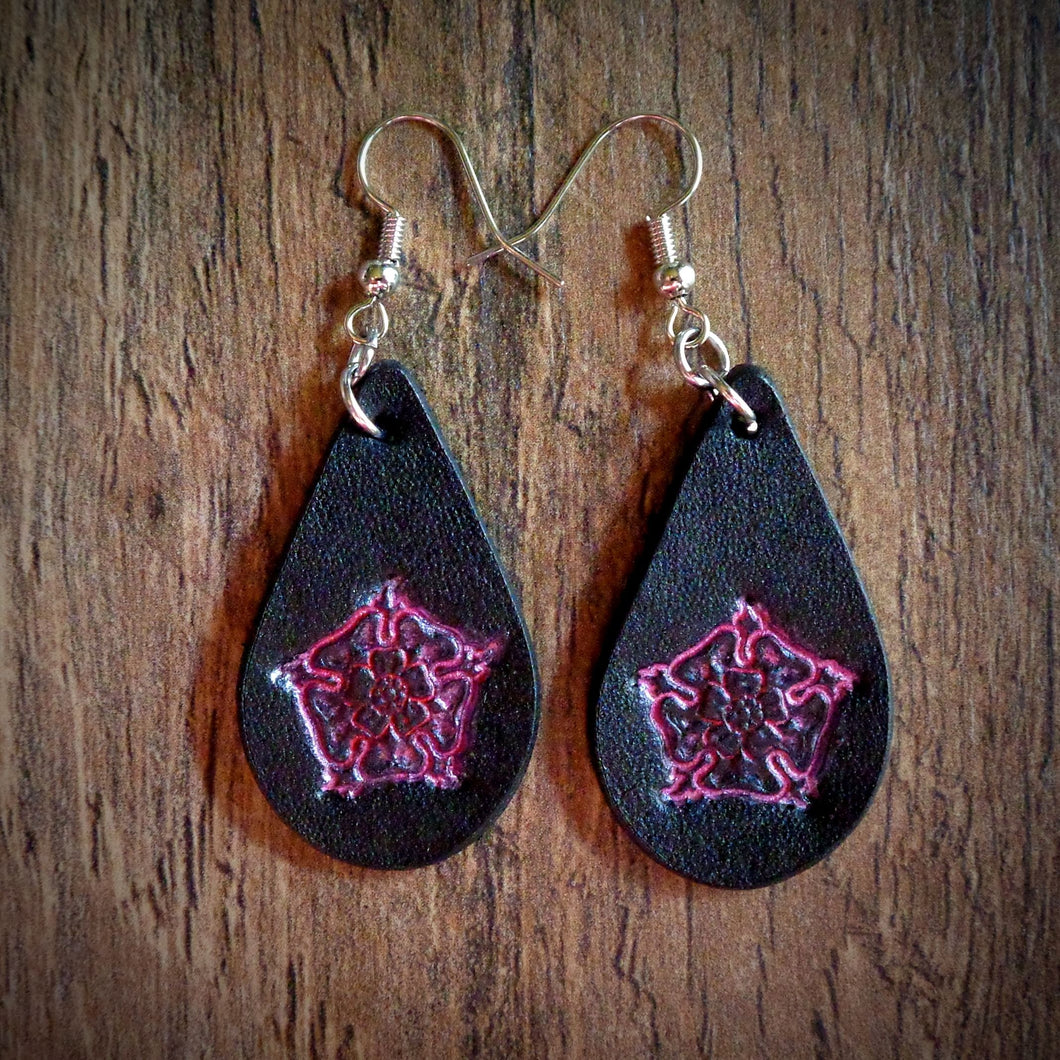 Hand Tooled Leather Pink Floral Petite Tear Drop Earrings