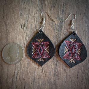 Hand Tooled Leather Red Geometric Tear Drop Earrings
