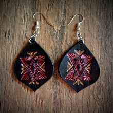 Load image into Gallery viewer, Hand Tooled Leather Red Geometric Tear Drop Earrings