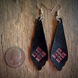 Hand Tooled Black Leather Red Geometric