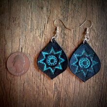 Load image into Gallery viewer, Hand Tooled Leather Turquoise Starburst Tear Drop Earring