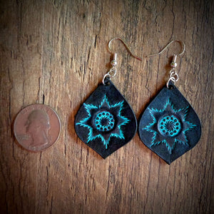 Hand Tooled Leather Turquoise Starburst Tear Drop Earring