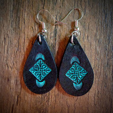 Load image into Gallery viewer, Hand Tooled Leather Turquoise Floral Petite Tear Drop Earrings