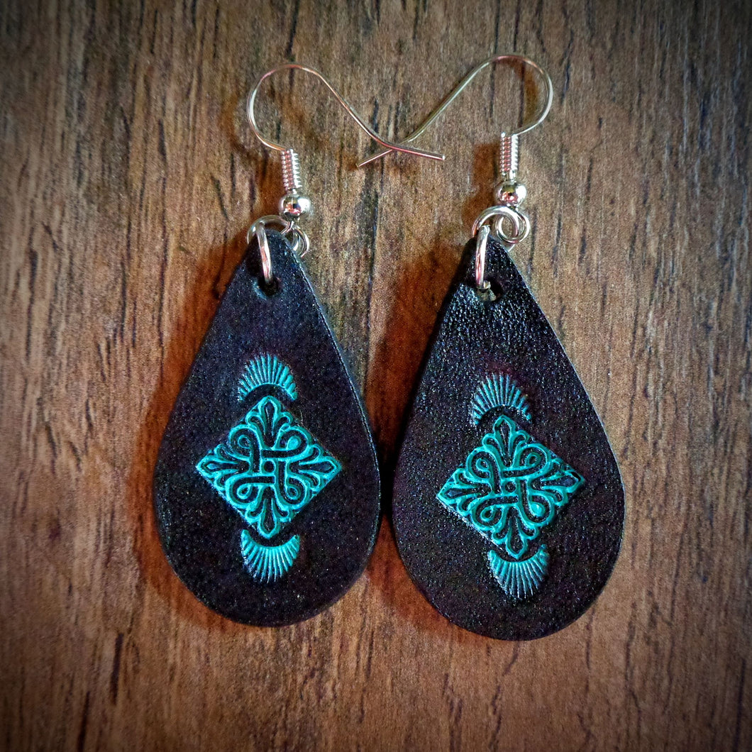 Hand Tooled Leather Turquoise Floral Petite Tear Drop Earrings