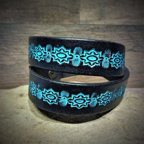 Hand Tooled Black and Turquoise Leather Wrap Cuff