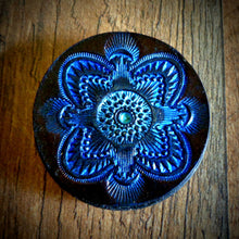 Load image into Gallery viewer, Hand Tooled Leather Blue Mandala Phone Grip