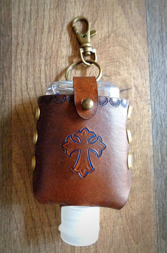 Blue Cross Leather Hand Sanitizer Case