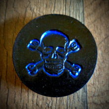 Load image into Gallery viewer, Hand Tooled Leather Blue Skull and Crossbones Phone Grip