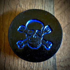 Hand Tooled Leather Blue Skull and Crossbones Phone Grip