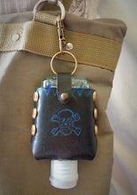 Load image into Gallery viewer, Blue Skull and Crossbones Leather Hand Sanitizer Case