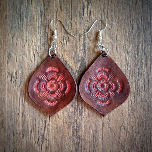 Hand Tooled Leather Coral Mandala Tear Drop Earrings