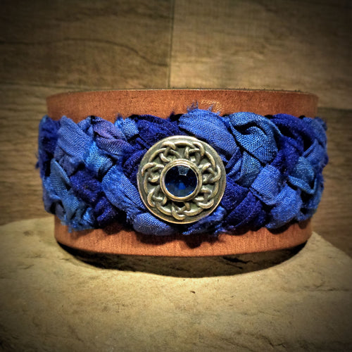 Bright Blue Sari Ribbon Braided Leather Cuff with Silver and Blue Rhinestone Concho